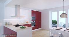 Red and white kitchen / Punavalkoinen keittiö