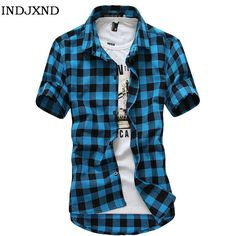 d9139d9d3 Multicolor Plaid Shirt Spring Men Camisas Blue Shirt Autumn Chemise Mens  Topstitching Shirts Short Sleeve Casual Grid Shirt B004-in Casual Shirts  from Men's ...
