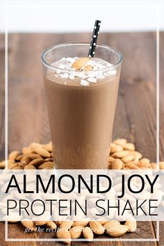 Healthy and delicious protein smoothie made to taste just like your favorite Almond Joy candy bar! Healthy and delicious protein smoothie made to taste just like your favorite Almond Joy candy bar! Healthy Protein Shakes, Low Carb Protein, Protein Shake Recipes, Smoothie Recipes, Protein Snacks, Oatmeal Protein Shake, Drink Recipes, Protein Smoothies, Healthy Breakfast Smoothies