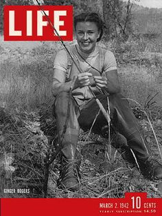 Never looked better-March 2, 1942 Life Magazine cover with Ginger Rogers - fly fishing woman