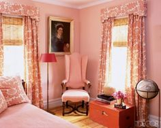 Pink bedroom - corniced draperies with bamboo roman shades, oil painting, antiques - Elle Decor