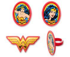 Wonder Woman Amazing Amazon Cupcake Rings - 12 Ct (sku: 37621)
