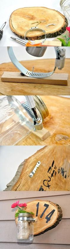 Learn how to make a unique house number sign from a wood slice - this is such a great home decor project, and on a budget! by carlene