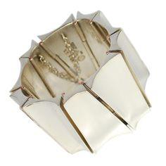 ANTONIO PINEDA Monumental Modernist Silver Bracelet, Mexico, 1950's