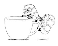 Jerry Stuart and The Minion Want to Get in The Cup Coloring Page Minion Coloring Pages, Colouring Pages, Coloring Sheets, Minion Sketch, Minion Drawing, Minions, Minion Pictures, Pictures To Draw, Coffee Drawing