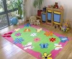 Flowers Rug – green and bubble gum pink field with flowers and butterflies for a lively fun setting. Bubblegum Pink, Wonderland, Kids Rugs, Bubble Gum, Green, Butterflies, Flowers, Fun, Design