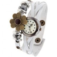 $5.55 Time Z Quartz Watch with Dots Indicate Round Dial Leather Watchband for Women (White)