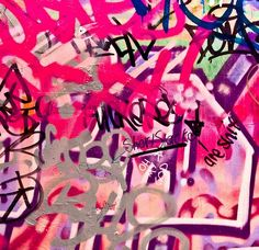 pink and purple and silver grafitti
