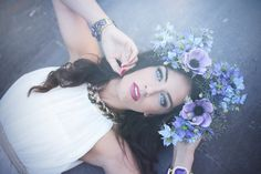 My beautiful muse Aurela Skandaj. Purple headress and gorgeous bleau eyes. Portrait photography with a soft flair