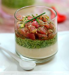 Duo of Vegetable Mousses and Tuna Tartar in preparation for her New Year's Eve celebrations. Each one is served in an individual glass, stacked first with a celery root puree, then spinach, then the fresh tuna tartar
