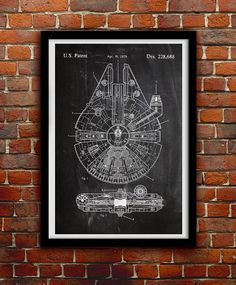 Star Wars Millenium Falcon - Geek Decor - Patent Print Poster Wall Decor - 0068