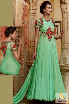 Green Color Anarkali Umbrella Frock Dress Online