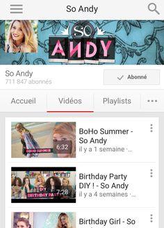 1⃣ Une de mes Youtubeuses préférées -So Andy- je trouve sa chaîne géniale et très complète !  partage ton avis en commentaire !