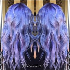 Periwinkle blue and lavender hair colors melting into subtle shades of pastel pink by Jeni Garcia. hair painting  hotonbeauty.com