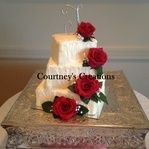 Rustic elegance in offset square tiers with red roses