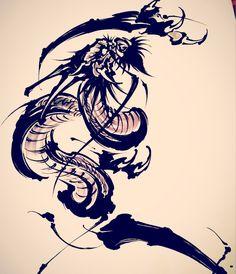 Amsterdam TATTOO 1825 KIMIHITO Dragon Japanese Brush storke tattoo design
