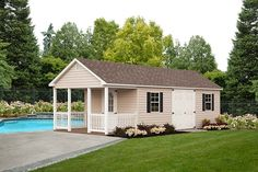 Add a porch package to a cape shed and you've got a great pool house! Vinyl Storage Sheds, Vinyl Sheds, Shed Storage, Built In Storage, Front Porch Garden, Shed With Porch, Side Porch, Garden Shed Interiors, Garden Sheds