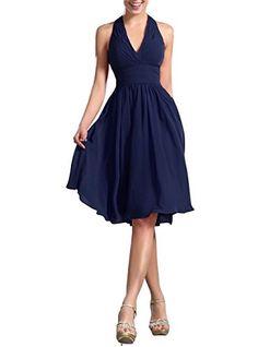 Huafeiwude Women's Knee Length Halter Dress Bridesmaid Dresses Navy Blue US 4 Huafeiwude http://smile.amazon.com/dp/B00ZOSTWSO/ref=cm_sw_r_pi_dp_uhR7wb19AMNT6