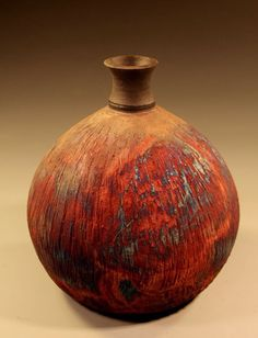 Raku bottle. Www.NitaClaise.com. Facebook: Pottery by Nita Claise
