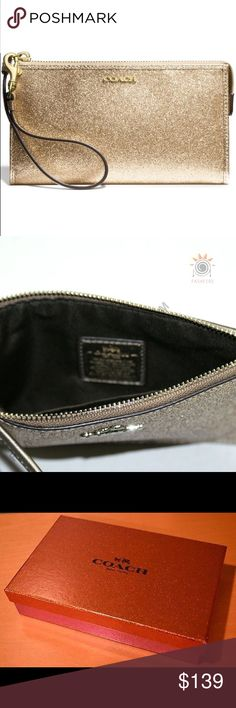 """NWT Coach Gold Glitter Wristlet!! NWT Coach Glitter Wristlet!!! So gorgeous & perfectly on trend!!! Makes a perfect Christmas present & also includes a gorgeous coach box!!! Measures 7"""" in length & 4"""" in height Coach Bags"""