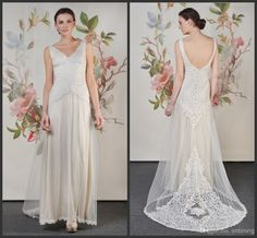 Wholesale A-Line Wedding Dresses - Buy LK Zuhair Murad New Design Lace A-Line Wedding Dresses Charming Deep V-neck Exqusite Sweep Train Backless Sleeveless White Bridal Gowns, $179.99 | DHgate