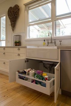 Pull out drawers in cabinets.