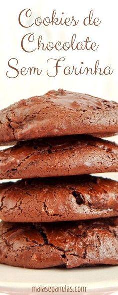 Cookies de Chocolate sem Farinha   Malas e Panelas
