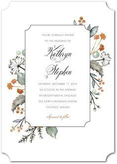 Verdant Bouquet - Signature White Wedding Invitations in Rust or Cupcake | Lady Jae