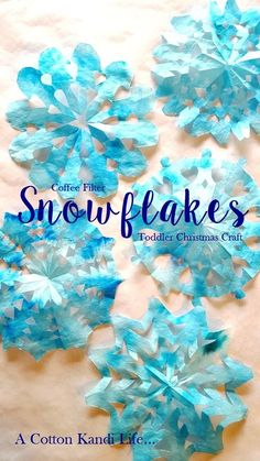 Holiday Crafts for Kids Christmas Decorations for Kids. Winter Crafts for Kids. Snowflake Crafts for kids. Handmade Christmas Coffee Filter Crafts - A Cotton Kandi Life Diy Christmas Snowflakes, Snowflakes Art, Snowflake Craft, Christmas Diy, Christmas Coffee, Christmas Decorations, Handmade Christmas, Christmas Trees, Christmas Crafts For Toddlers
