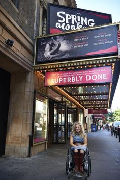 """Spring Awakening"" actress Ali Stroker outside the Brooks Atkinson Theatre actress in wheelchair Theatre Stage, Broadway Theatre, Musical Theatre, Theater, Michael Arden, Duncan Sheik, The Guilty, Spring Awakening, Ali"