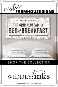 Add a welcoming touch of vintage farmhouse charm to your guest bedroom with this rustic bed and breakfast sign featuring your family name and established date. A charming sign for lovers of country style decor, this distressed large canvas wall art is a delightful addition to make your guests feel right at home. #bedroomdecor #rusticwalldecor #rusticsigns #canvaswallart #customart #walldecor Wall Decor Design, Unique Wall Decor, Rustic Wall Decor, Rustic Signs, Entryway Decor, Large Canvas Wall Art, Canvas Wall Decor, Canvas Art, Farmhouse Signs