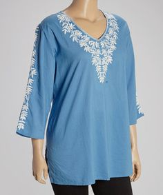 Loving this Blue & White Embroidered V-Neck Tunic - Plus on #zulily! #zulilyfinds