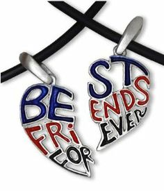 """Dark - Red, Blue & Black - TWO HEARTS (16.5"""" inch PVC) - Best Friends Necklace - BFF - 2-Piece Pewter Friendship Jewelry Set C&D Jewelry. $12.99. 2 pedant pieces made of pewter with 2 PVC rope clasp necklaces included. Includes: 2 Necklaces (each are one half section of heart). May NOT be suitable for small children (under 6).. Other Jewelry Styles Available - Amazon Search """"C&D Jewelry"""". Includes: High Grade PVC Choker Necklace (16.5 inches full length long) with metal trigg..."""
