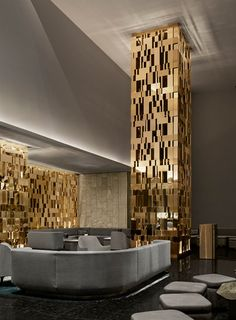 Burdifilek Columns Decor, Interior Columns, Lobby Interior, Interior Architecture, Latest False Ceiling Designs, One Room Flat, Column Lights, Pillar Design, Feature Wall Design