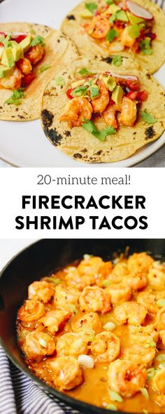 All you need is 20 minutes to whip up these firecracker shrimp tacos with a delicious pineapple salsa. A simple, filling and flavorful dinner the whole family will enjoy combining a variety of spicy flavors. #tacos #firecrackershrimp #shrimptacos #20minutedinner #healthydinner #glutenfree Healthy Taco Recipes, Healthy Tacos, Fish Recipes, The Healthy Maven, Healthy Eating, Firecracker Shrimp Tacos, Healthiest Seafood, Pineapple Salsa