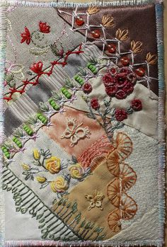 Birthday card for Birgit - crazy quilting - by Ritva Peltola. FREE quilt patterns?  CLICK HERE---> http://onlinequiltingclassesmembership.ning.com/
