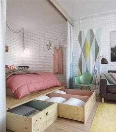 Best modern small apartment interior design and decoration ideas: Beautiful Bedroom Arrangement For 45 Square Meters Apartment Creative Bed Design Simple Space Saving Bed Design For Small Studio Apartment Furniture Organizing Ideas Studio Apartment Decorating, Apartment Design, Apartment Therapy, Apartment Ideas, Apartment Styles, Apartment Makeover, Apartments Decorating, Compact Living, Compact House