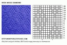 Irish Moss Diamond Knit chart. Easy to follow