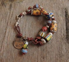 AFRICAN JEWELRY FROM ETSY | African Trade Bead, Leather Knotted, Double Strand, ... | Diy Jewelry