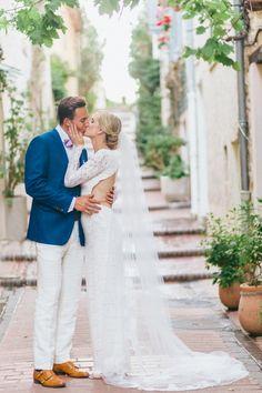 Groom's Suit: Sanuelsohn - http://www.stylemepretty.com/portfolio/sanuelsohn Wedding Dress: Houghton Bride - http://www.stylemepretty.com/portfolio/houghton-bride Photography: En Route Photography - http://www.stylemepretty.com/portfolio/en-route-photography   Read More on SMP: http://www.stylemepretty.com/destination-weddings/2015/08/10/romantic-french-riviera-elopement-in-antibes/