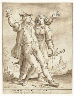 Dronken soldaat vergezeld door een vrouw, Karel van Mander, 1588 Grisaille, 17th Century, Fresco, Graphic Art, Van, Statue, Drawings, Painting, Holland
