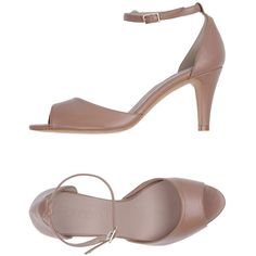 Ancarani Sandals ($180) ❤ liked on Polyvore featuring shoes, sandals, skin colour, ankle tie sandals, leather ankle wrap sandals, leather shoes, ankle tie shoes and rubber sole sandals