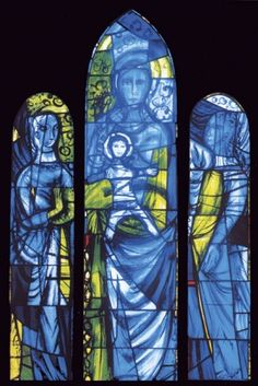 'Virgin and Child', 1958–9, by Patrick Reyntiens, St Mary's, Hound Road, Netley Abbey