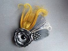 YELLOW AND GREY Feather Flower Hair Accessory  Wrist Corsage