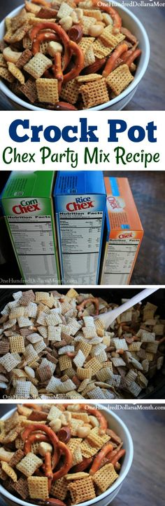 Slow Cooker Chex Party Mix Recipe - One Hundred Dollars a Month Slow Cooker Recipes, Crockpot Recipes, Chex Party Mix Recipe, Chili, Chex Mix, Yummy Snacks, Rice Recipes, Appetizers, Favorite Recipes