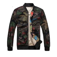 Fashion Mens Camouflage Bomber Jacket Hollow Out Desige Slim Fit Camo Windbreaker Baseball Jacket And Coat For Men Camo Bomber Jacket, Camouflage Jacket, Windbreaker Jacket, Men's Jacket, Bomber Jackets, Jacket Style, Shirt Style, Thing 1, Spring Jackets