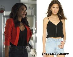 "Who: Candice Patton as Iris West What: Club Monaco Kendyl Cami in Black - $39.60 Where: The Flash 2x02 ""Flash of Two Worlds"" Worn with: BCBGMAXAZARIA Blazer"