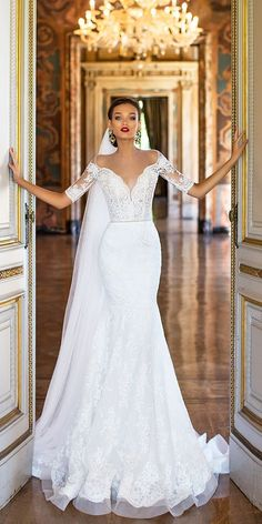 Mermaid Wedding Dresses Wedding Dress by Milla Nova White Desire 2017 Bridal Collection - Rita - Milla Nova' 2017 Bridal Collection, a truly the most amazing lineup of stop-you-in-your-tracks bridal gowns and wedding dresses for the sophisticated bride. Wedding Dress Trends, Dream Wedding Dresses, Bridal Dresses, Modest Wedding, Elegant Wedding Dress, Tulle Wedding, Glamorous Wedding Dresses, Autumn Wedding Dresses, Wedding Dress Cape
