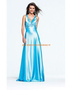 Robe glamour bleue bretelles col en V cristaux satin stretch robe de soirée 2013
