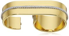 Rachel Zoe Melina Pave Two-Finger Ring, Size 7. Gold-tone two-finger ring with pave crystals. Imported.
